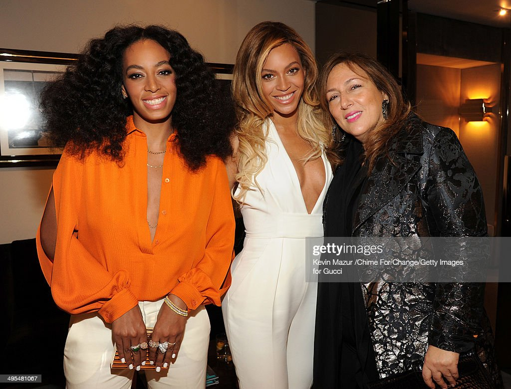 <a gi-track='captionPersonalityLinkClicked' href=/galleries/search?phrase=Solange+Knowles&family=editorial&specificpeople=221489 ng-click='$event.stopPropagation()'>Solange Knowles</a>, <a gi-track='captionPersonalityLinkClicked' href=/galleries/search?phrase=Beyonce+Knowles&family=editorial&specificpeople=171204 ng-click='$event.stopPropagation()'>Beyonce Knowles</a> and Lorraine Schwartz attend the CHIME FOR CHANGE One-Year Anniversary Event hosted by Gucci Creative Director Frida Giannini and T Magazine Editor-In-Chief Deborah Needleman at Gucci Fifth Avenue on June 3, 2014 in New York City.