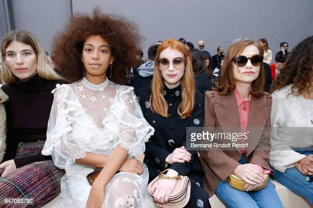 Solange Knowles Emma Roberts Isabelle Huppert and Houda Benyamina attend the Chloe show as part of the Paris Fashion Week Womenswear Fall/Winter...