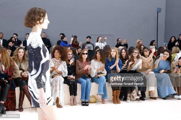Solange Knowles Emma Roberts Isabelle Huppert Houda Benyamina Clemence Poesy guest Noemie Schmidt Ana Girardot and Oulaya Amamra attend the Chloe...
