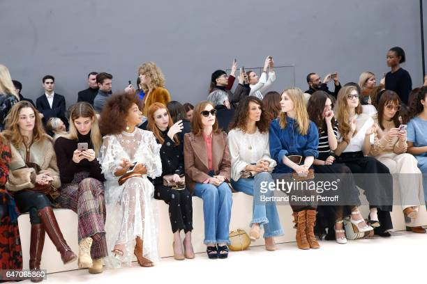 Solange Knowles Emma Roberts Isabelle Huppert Houda Benyamina Clemence Poesy guest Noemie Schmidt and Ana Girardot attend the Chloe show as part of...