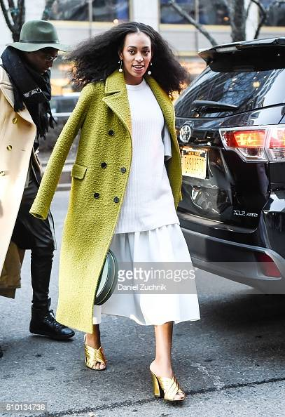Solange Knowles is seen outside the Alexander Wang show during New York Fashion Week Women's Fall/Winter 2016 on February 13 2016 in New York City