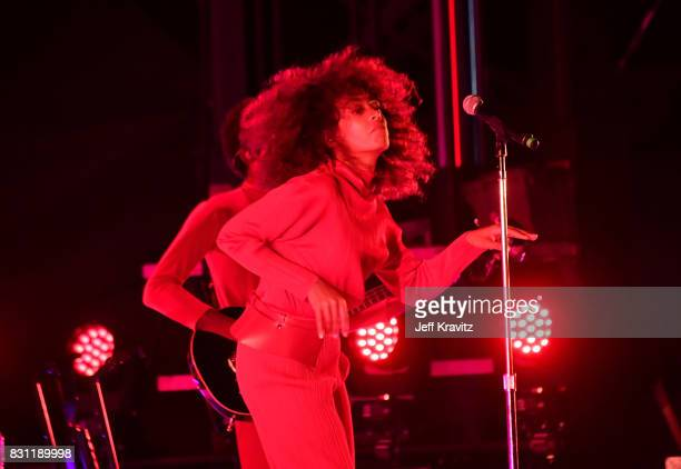 Solange Knowles performs on the Lands End stage during the 2017 Outside Lands Music And Arts Festival at Golden Gate Park on August 13 2017 in San...