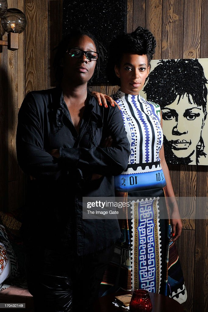 <a gi-track='captionPersonalityLinkClicked' href=/galleries/search?phrase=Solange+Knowles&family=editorial&specificpeople=221489 ng-click='$event.stopPropagation()'>Solange Knowles</a> (R) wearing Mary Katrantzou and artist Mickalene Thomas (L) pose at 'Better Days', an art bar installation presented by Absolut Art Bureau at Art Basel on June 12, 2013 in Basel, Switzerland.