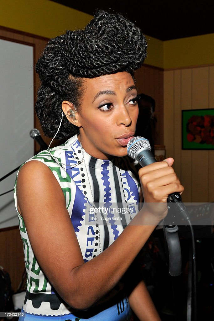 Solange Knowles wearing Mary Katrantzou performs at 'Better Days', an art bar installation by Mickalene Thomas presented by Absolut Art Bureau on June 12, 2013 in Basel, Switzerland.