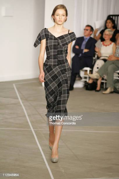 Solange Wilvert wearing Roland Mouret Spring 2006 during Olympus Fashion Week Spring 2006 Roland Mouret Runway at To Be Determined in New York City...