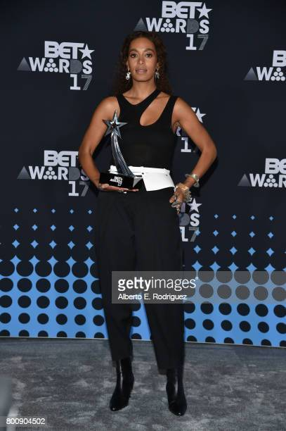 Solange winner of the Centric Award for 'Cranes In The Sky' poses in the press room at the 2017 BET Awards at Microsoft Theater on June 25 2017 in...