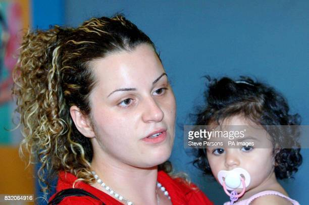 Solange Youssef with 16 month old daughter Lara British evacuees from Lebanon arrive back at Gatwick Airport Sussex