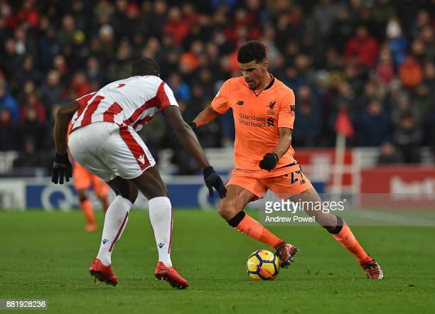 Solanke of Liverpool during the Premier League match between Stoke City and Liverpool at Bet365 Stadium on November 29 2017 in Stoke on Trent England