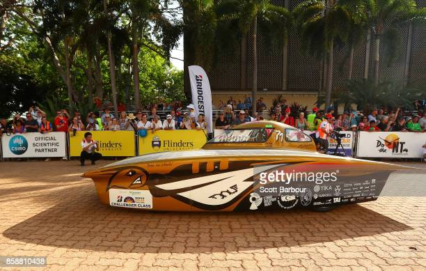 Solar Car Team vehicle 'BOW ISTANBUL' from Turkey leaves the start line as they begin racing on Day 1 of the 2017 Bridgestone World Solar Challenge...