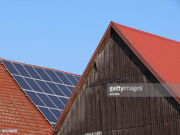 solar cells on farm house roof