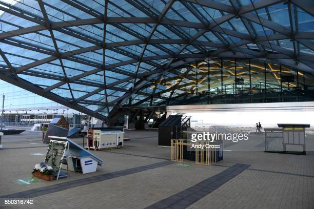 Solar dog houses on display for the Sustainable BARKitecture Dog House Competition at Denver International Airport September 20 2017 Fifteen...