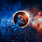 3D illustration of astronaut floating in space during solar eclipse