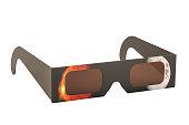 Solar Eclipse Glasses, 3D rendering. The source of the map https://svs.gsfc.nasa.gov/4537 and https://www.nasa.gov/sites/default/files/20140228_eclipse.jpg
