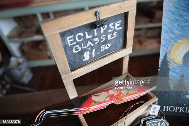 Solar Eclipse related items are offered for sale at Griffin's Studio on August 16 2017 in Hopkinsville Kentucky Hopkinsville in Western Kentucky is...