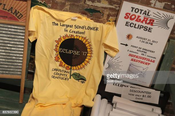 Solar eclipse related items created by local artisans are offered for sale at the Hopkinsville Art Guild on August 16 2017 in Hopkinsville Kentucky...