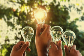 solar energy concept hand group holding light bulb in nature