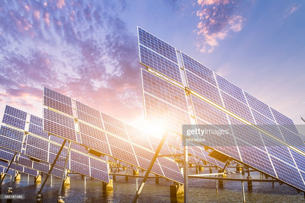 solar energy panels and wind turbines : Stock Photo