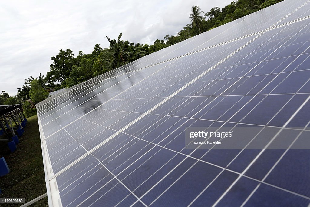 A solar energy plant with an output capacity of 335 kW, providing electricity to approximately 760 households and situated on the island of Bunaken near Manado, Indonesia, pictured on January 11, 2013.