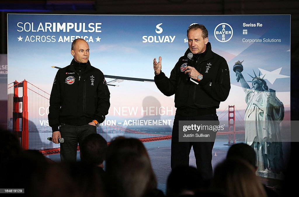 Solar Impulse CEO and pilot Andre Borschberg (R) speaks as Solar Impulse Chairman and pilot Bertrand Piccard (L) looks on during a press conference at Moffett Field on March 28, 2013 in Mountain View, California. The Solar Impulse, a solor powered plane that has already made international and intercontinental flights in Europe and Africa, will begin test flights around the San Francisco Bay Area ahead of a planned flight across the United States later this year.