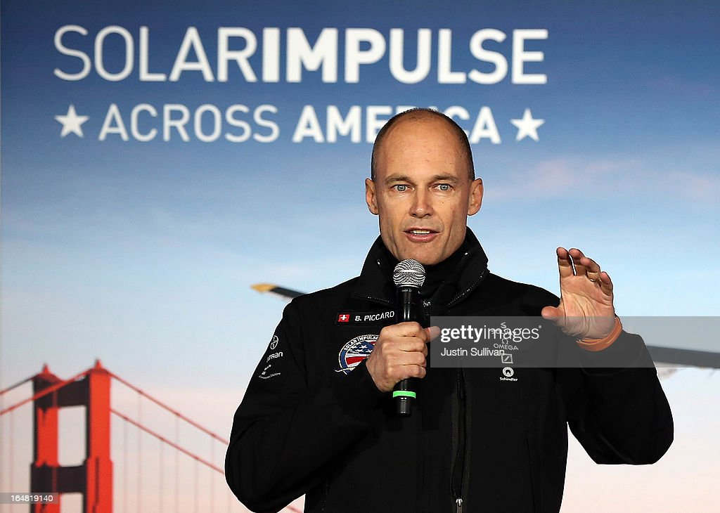 Solar Impulse Chairman and pilot <a gi-track='captionPersonalityLinkClicked' href=/galleries/search?phrase=Bertrand+Piccard&family=editorial&specificpeople=773279 ng-click='$event.stopPropagation()'>Bertrand Piccard</a> speaks during a press conference at Moffett Field on March 28, 2013 in Mountain View, California. The Solar Impulse, a solor powered plane that has already made international and intercontinental flights in Europe and Africa, will begin test flights around the San Francisco Bay Area ahead of a planned flight across the United States later this year.