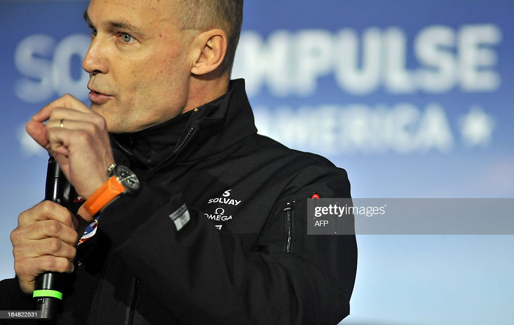 Solar Impulse founder and pilot Bertrand Piccard addresses a press conference at the NASA Ames Research Center in Mountain View, California on Thursday, March 28, 2013. The Solar Impulse project aims to fly an aircraft around the world using only solar energy. AFP PHOTO/Josh Edelson