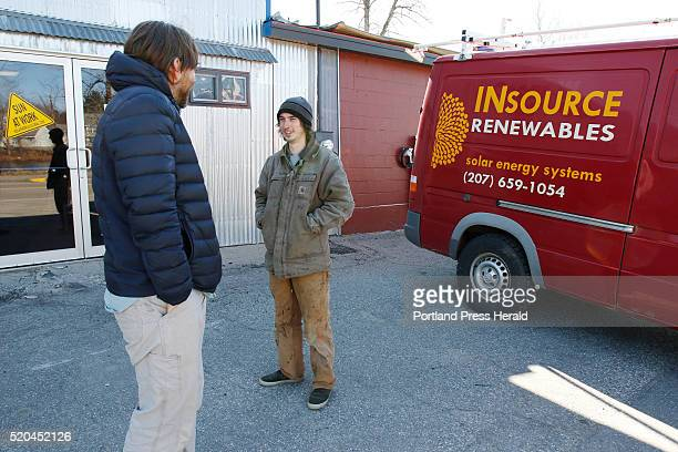 Solar installer Ben Holt right speaks Vaughn Woodruff left owner of Insource Renewables Tuesday April 5 2016 at the company's warehouse in Pittsfield...