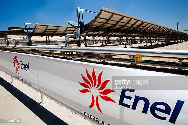 Solar mirrors are seen at Enel SpA's combined cycle thermodynamic solar power plant at its inauguration in Priolo Gargallo near Siracusa Italy on...