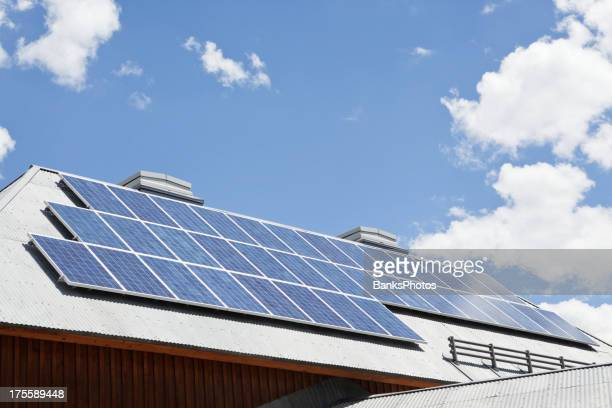 Solar Panel Array on a Corrugated Steel Roof