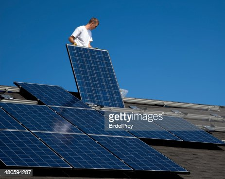 Solar Panel Installation : Stock Photo