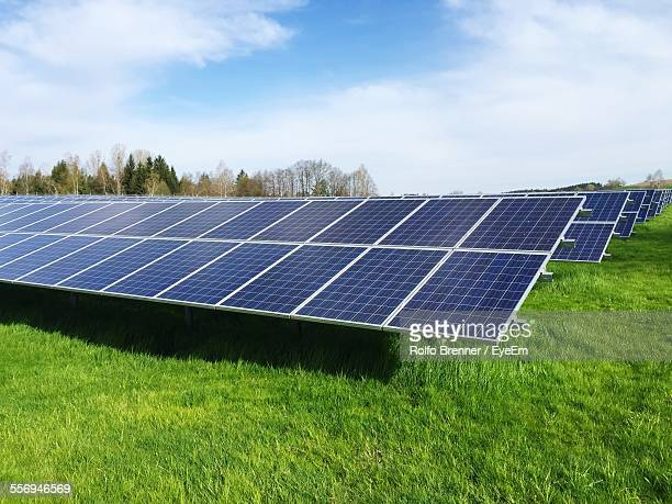 Solar Panel On Grassy Field