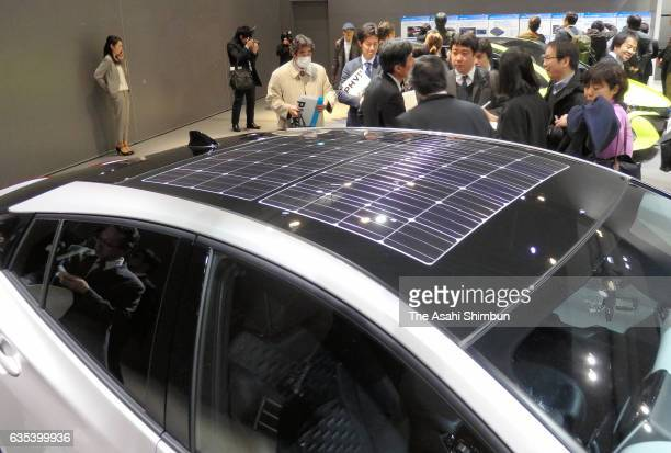 Solar panel on the roof of the Toyota Motor Co's Prius new plugin hybrid is seen during its unveiling at the Miraikan the National Museum of Emerging...