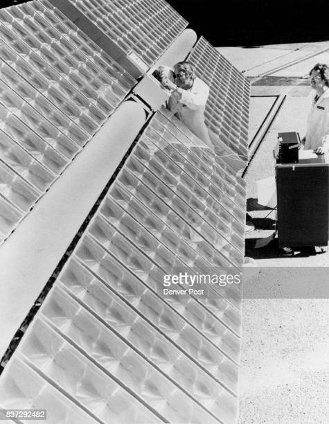 Solar Panel part of new power plant A technician at Martin Marietta Denver Aerospace works on a photovoltiac array similar to the 80 arrays which...