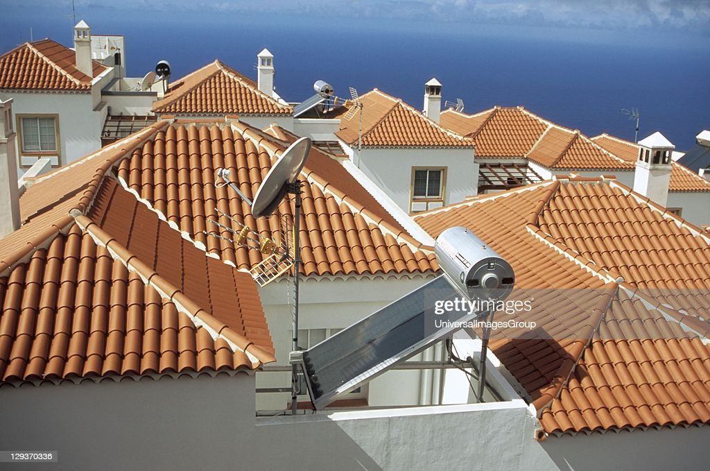 Solar panel, roof , house, South of La Palma. hot water. Village