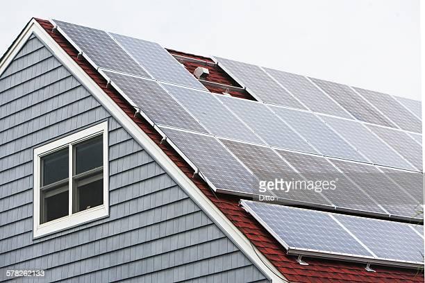 Solar panelled roof, Long Beach, New York, USA