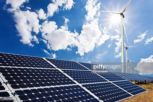 Solar panels and wind farm