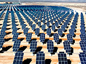 On 140 acres of unused Nellis land, 70,000 solar panels await activation as the first third of the solar photovoltaic array gets commissioned October 12, 2007 with the other 66 percent of the panels s