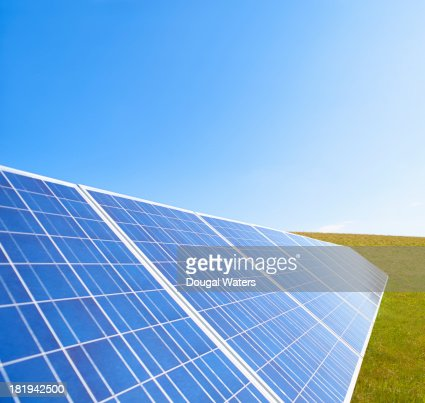 Solar panels in countryside. : Stock Photo