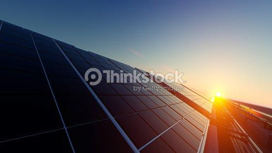 Solar Panels in Dim Light : Foto de stock