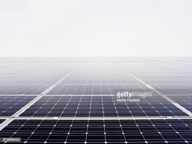 Solar Panels in Mist near Hamburg, Germany