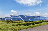solar panels photovoltaics in solar power station renewable energy from natural