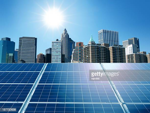 Solar panels in the city