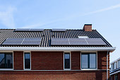 Solar panels on the roof of a new house