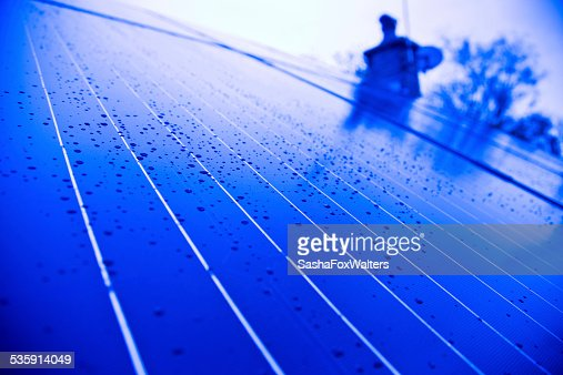 solar panels on house rooftop : Stock Photo