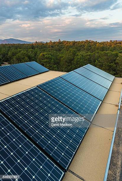 Solar panels on the roof of a residence in Santa Fe New Mexico USA