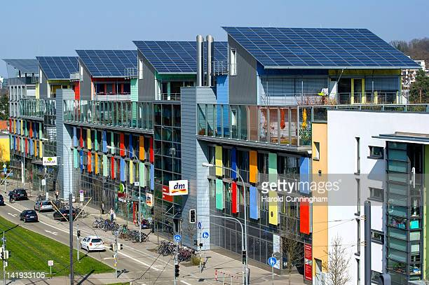 Solar panels stand on the roof of the Sun Ship part of the Freiburg Solar Settlement on March 23 2012 in Freiburg im Breisgau Germany The Solar...