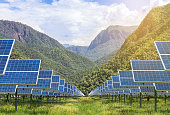 solar photovoltaics panels in solar power station  with mountains  background