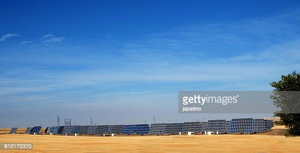 Solar power plant using solar panels in the fields of Castile. Spain