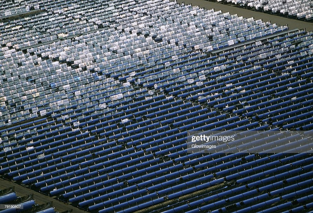 Solar power via parabolic trough mirrors, Daggett, California : Stock Photo