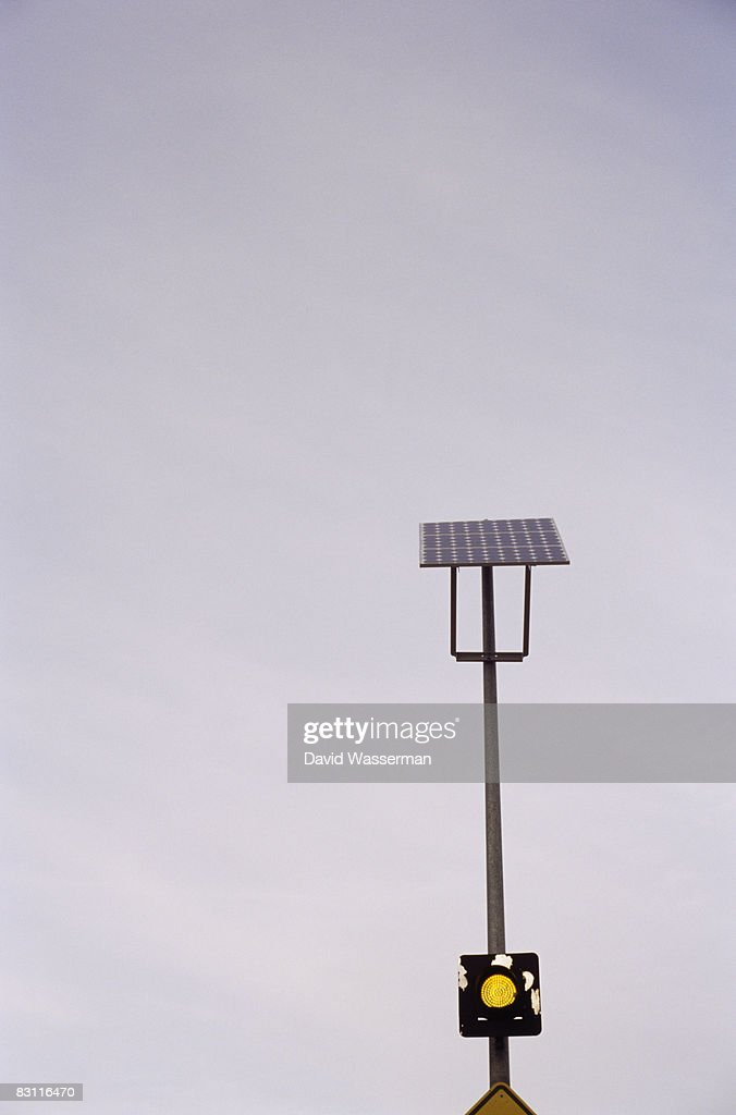 Solar powered traffic signal : Stock Photo