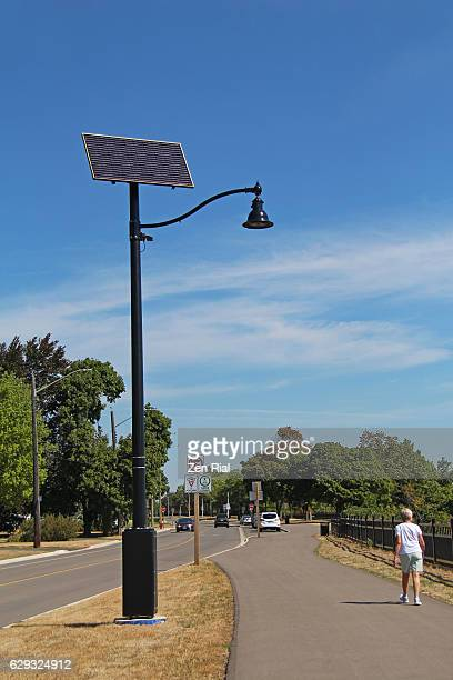 Solar street light, Solar panel, Photovoltaic panel, Alternative energy -street in Hamilton in Ontario, Canada